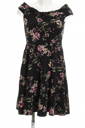 Dorothy Perkins Abendkleid schwarz florales Muster 70ies-Stil