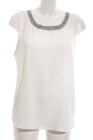 Dorothy Perkins ärmellose Bluse weiß-silberfarben Elegant