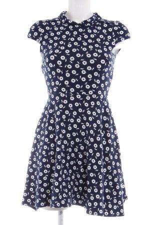 Dorothy Perkins Babydollkleid dunkelblau-weiß Blumenmuster Romantik-Look