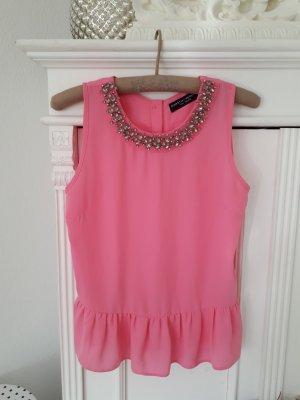 Dorothy Perkins Bluse Top Peplum Pink Schösschen Kette S 36
