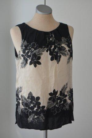 Dorothy Perkins Blusentop Gr. UK 12 M 40 Bluse Top Oberteil schwarz weiß Baumwolle
