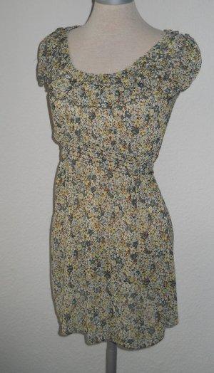 Dorothy Perkins Chiffon Bluse grün Blumen kurzarm Gr. UK 10 36 38 S neu