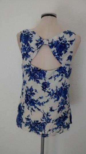 Dorothy Perkins Gr UK 14 EUR 42 blau weiß Top Oberteil Bluse rückenfrei Schleife
