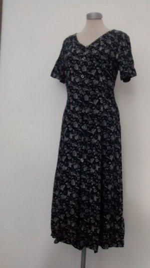 Dorothy Perkins kurzarm Kleid vintage 90'er lang Maxikleid Gr. UK 12 EUR 38 blau