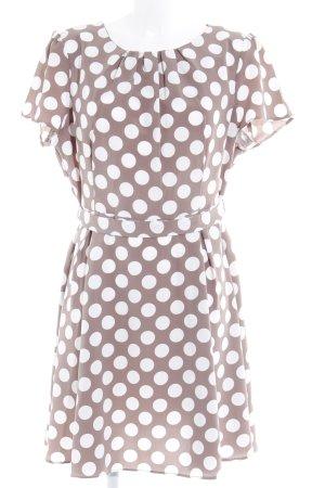 Dorothy Perkins Kurzarmkleid weiß-graubraun Punktemuster Rockabilly-Look