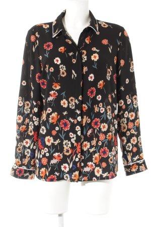 Dorothy Perkins Langarm-Bluse schwarz-neonrot Blumenmuster Casual-Look