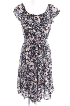 Dorothy Perkins Midikleid schwarz-apricot florales Muster Casual-Look