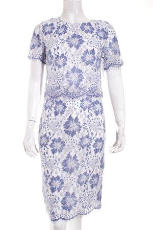 Dorothy Perkins Spitzenkleid weiß-blau florales Muster Elegant