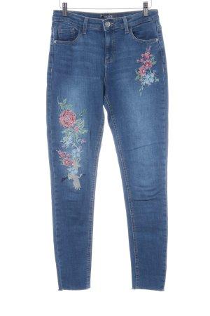 Dorothy Perkins Stretchhose blau florales Muster Casual-Look