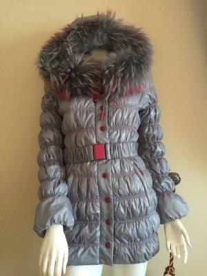 Manteau en duvet argenté