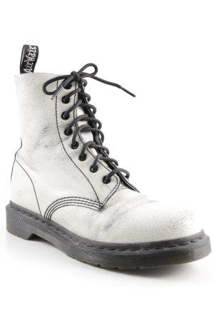 Dr. Martens Ankle Boots weiß-schwarz Metallic-Optik