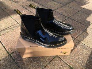 Dr. Martens Bianca Black Chelsea Boots aus Hochglanz-Leder Neuwertig