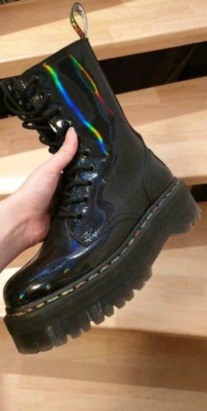 Dr. Martens Jadon Hi Rainbow Patent /Stiefel Plateu Black Rainbow