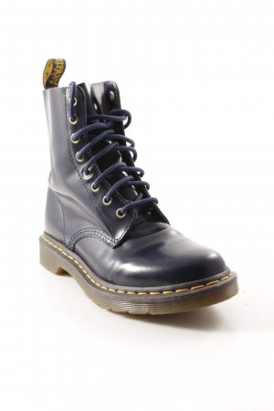 Dr. Martens Combat Boots dark blue wet-look