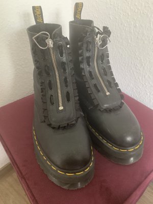Combat Boots black-silver-colored leather