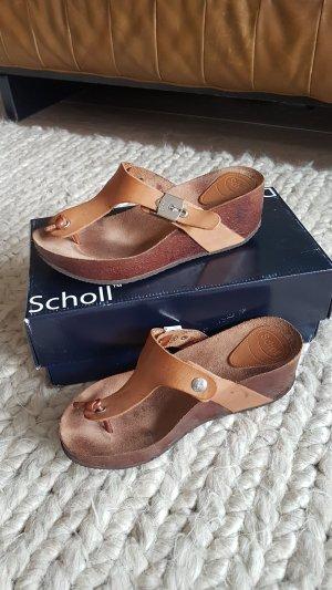 dr.scholl edna plateau wedge sandale braun tan cognacfarben leder kork Gr.38 wie neu