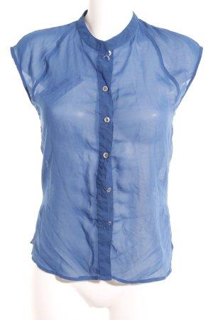 DRDENIM JEANSMAKERS Kurzarm-Bluse blau Casual-Look