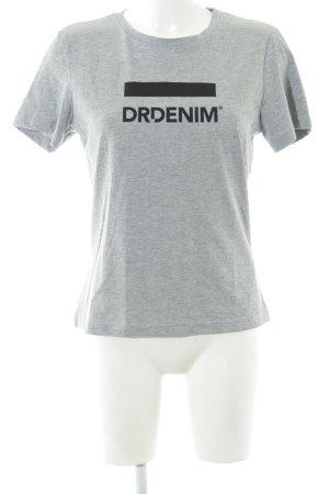 DRDENIM JEANSMAKERS T-Shirt hellgrau-schwarz Schriftzug gedruckt schlichter Stil