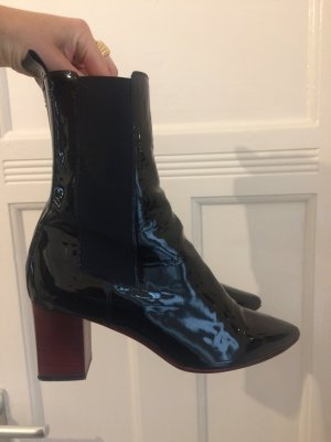 Ankle Boots black-dark red leather