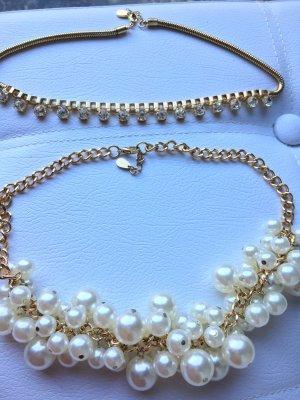 Drei Goldketten mit Perlen  Statementketten