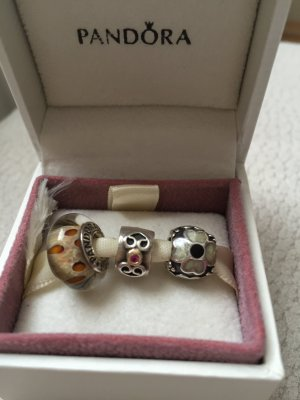 Drei Pandora Charms, Clip, Bicolor, Saphir, Murano, Blume