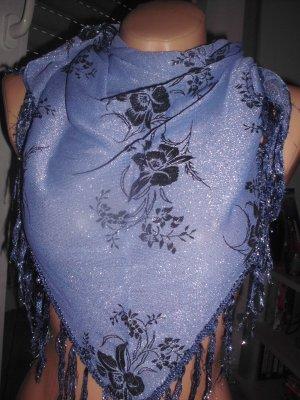 Dreiechtuch, blau-silber-glitzernd mit Blüten und Fransen