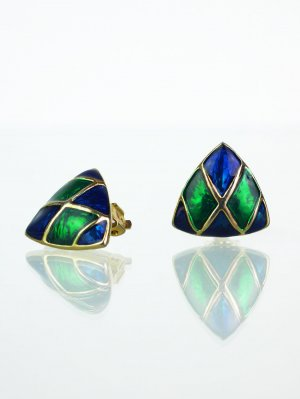 Dreieckige Vintage Ohrclips mehrfarbig