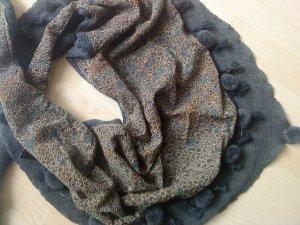 Dreieckiges Tuch (Winter) mit Bommelchen taubenblau