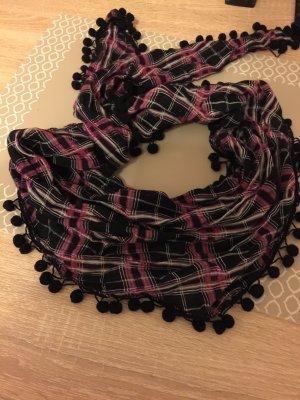 Dreieckstuch pink / schwarz mit Muster