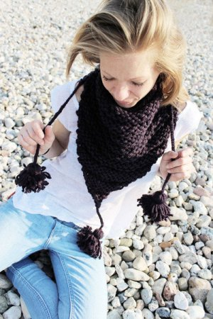 Sciarpa lavorata a maglia marrone-viola-viola Fibra sintetica
