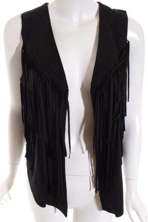 Dreimaster Fransenweste schwarz extravaganter Stil