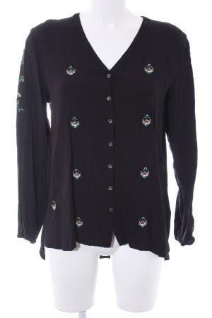 Dreimaster Langarm-Bluse schwarz Casual-Look