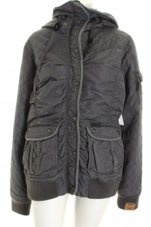 Dreimaster Steppjacke grau-anthrazit Materialmix-Look
