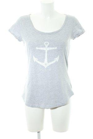 Dreimaster T-Shirt hellgrau-weiß platzierter Druck Casual-Look