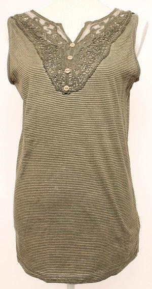 Dreimaster Top Shirt 40 m l * grün gestreift Spitze boho Streifen
