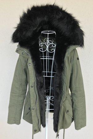 Dreimaster Winter Parka mit fake fur Kunstfell in schwarz Gr.S