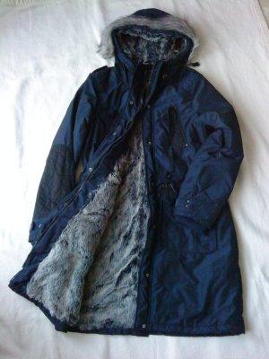 Dreimaster Wintermantel * dunkelblau * Gr. XL * super kuschelig * Neuwertig