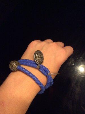 Armband blauw-zilver Glas