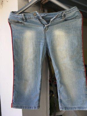 Pantalon 3/4 bleu azur-rouge