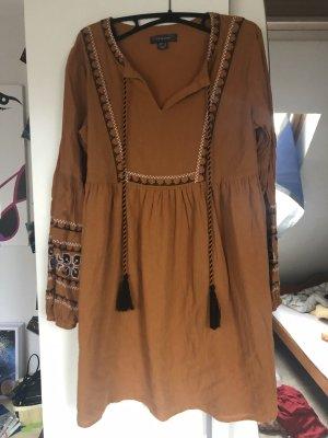 Babydoll Dress cognac-coloured
