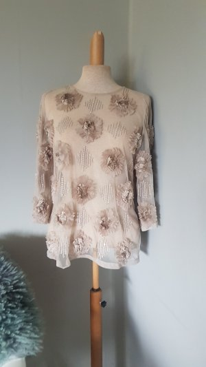 DRIES VAN NOTEN transparent nude beige Seiden bluse top gr.38 neu