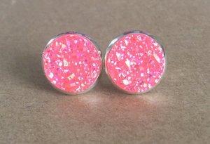 Druzy / Drusen Ohrstecker pink silber 12 mm