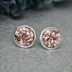 Zarcillo color plata-color rosa dorado