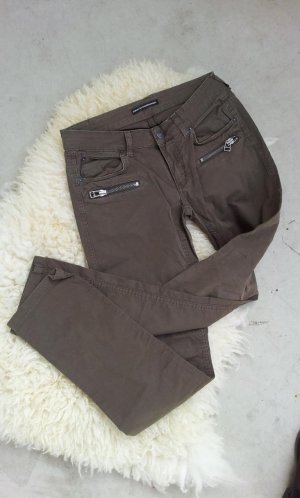 Drykorn Biker-Hose in 29/34, Khaki / Grau-Braun / Taupe, Zipper