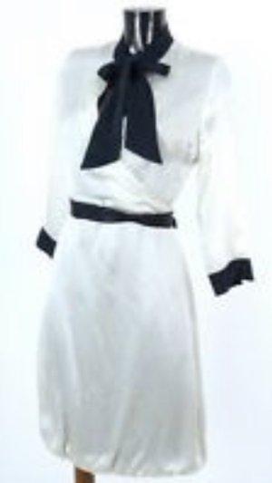 DRYKORN Blusenkleid Seidenkleid 100% seide, schwarz-weiss (creme) Gr. S - LUXUS