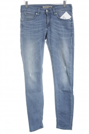 DRYKORN FOR BEAUTIFUL PEOPLE Skinny Jeans weiß-stahlblau meliert Biker-Look