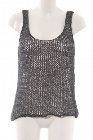 Drykorn Crochet Top light grey weave pattern casual look