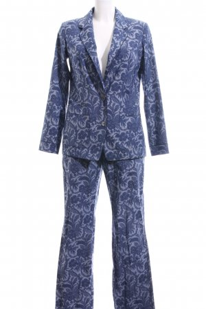 Drykorn Trouser Suit steel blue-cornflower blue abstract pattern business style