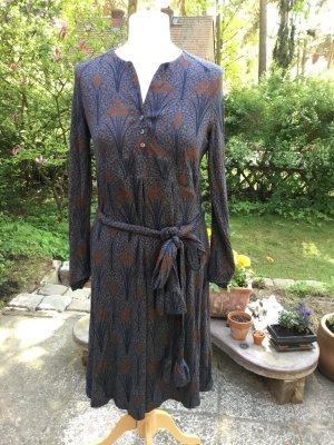 Drykorn Kleid Gr. 4 38 40 M L Blau Braun Muster Hippie Impression