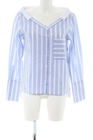 Drykorn Langarmhemd blau-weiß Streifenmuster Business-Look